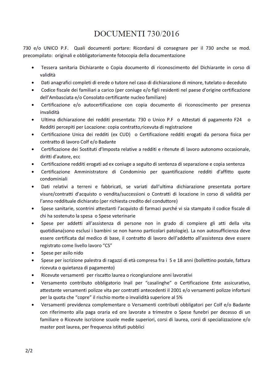 730 2016 dichiarazione dei redditi e isee 2016 s i a p for 730 documenti