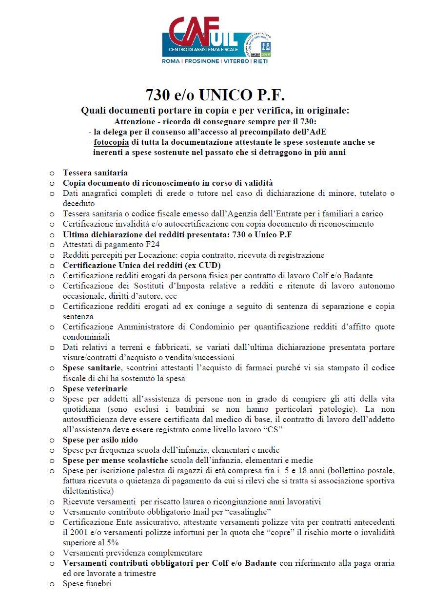 730 2018 dichiarazione dei redditi 2018 s i a p roma for 730 dichiarazione